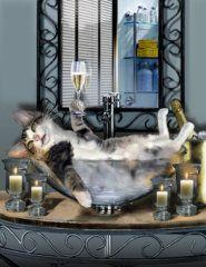 Продукты питания и напитки Живопись - Смешные Pet печати С подвыпивший Китти Джиной Femrite