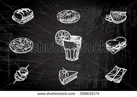 Hand drawn food and beverages menu design themes on chalkboard dark background - stock vector