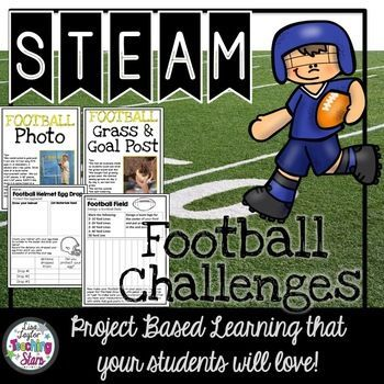 STEAM Football Challenges is a set of activities for classrooms, Summer Library Programs, Maker Spaces, and After School Clubs. Your students will have fun learning with the theme football! Included is: *STEAM Activities: Football Helmet Egg Drop, Football Grass & Goal Post, Paper