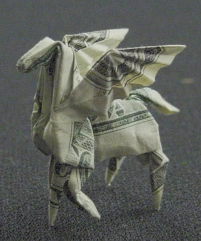 One dollar Pegasus...The person's a freakin PRO at origami!