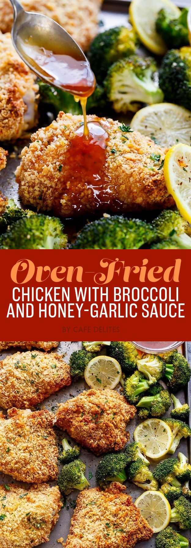 Oven-Fried Chicken with Broccoli and Honey-Garlic Sauce