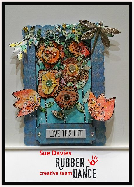 * Rubber Dance Blog *: ALtered Frame, Mixed Media Flower Frame, Shadowbox