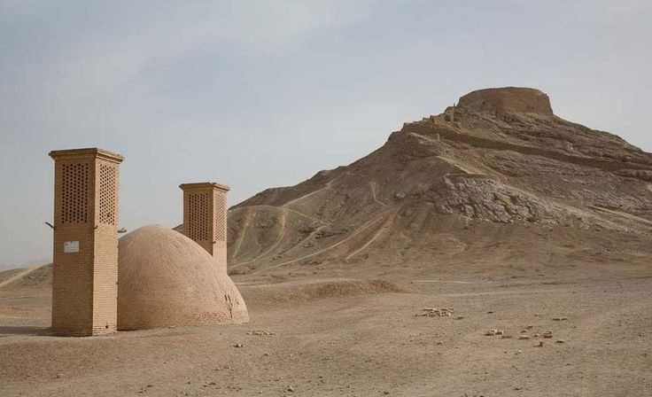 TOWERS OF SILENCE: ZOROASTRIAN ARCHITECTURES for the ritual of death - They leave the dead in the open air and let nature/the birds dispose of the bodies