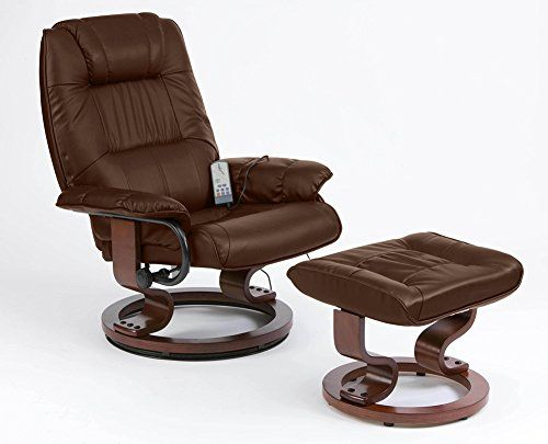 Restwell napoli swivel recliner brown leather effect massage chair with round base footstool
