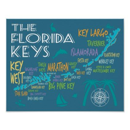 Florida Keys typographic map with colorful names Poster - artists unique special customize presents