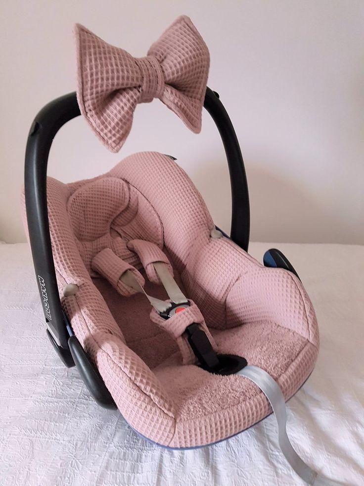 Polster Maxi Cosi Pebble Alter Rosa Waffel Frottee Bezug Autositz Baby Kinderwagen Babymode