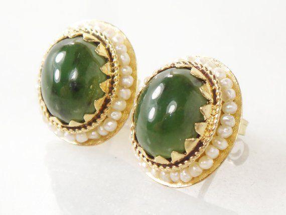 Vintage 14k Gold Large Stud Earrings Chrysoprase