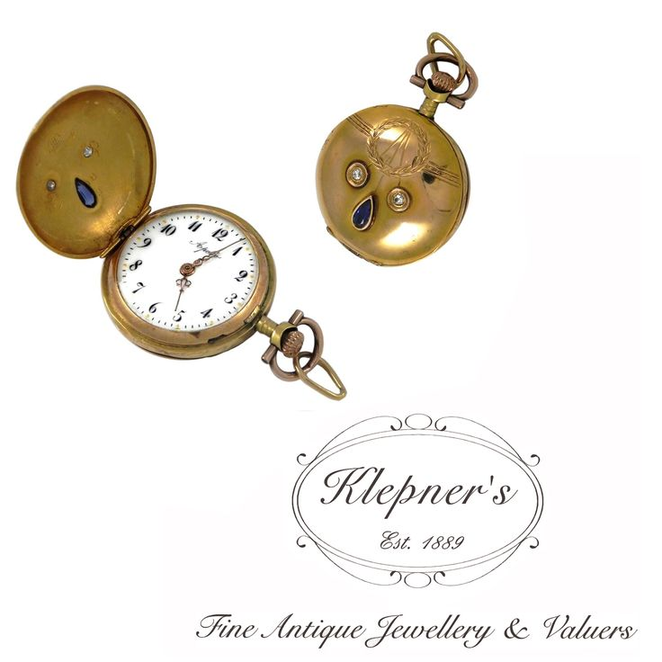 14ct yellow gold antique Art Nouveau  diamond & sapphire, Swiss made, crown wound, ladies fob watch. Featuring a wreath & garland design delicately rub set with one 0.10ct pear shaped, dark blue, Australian type sapphire & two old brilliant cut diamonds totalling 0.06ct. Visit us at www.klepners.com.au