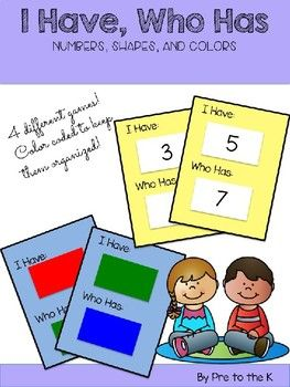 Practice number, color, and shape recognition with these fun I Have, Who Has cards! Children can practice recognizing these Pre-K concepts and recognizing their classmates with these fun games! Make learning fun with I Have, Who Has!