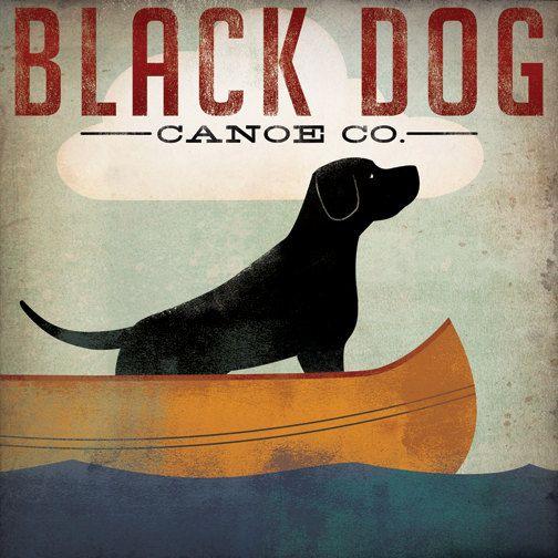 BLACK DOG Canoe Ride original illustration Giclee by nativevermont. $39.00, via Etsy.