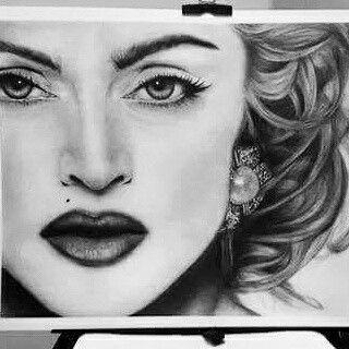 Airbrush painting potrait Madonna