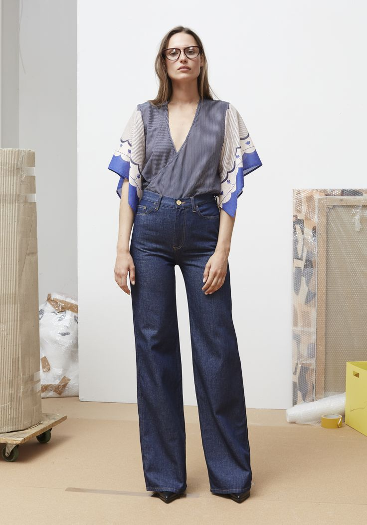 Rodebjer SS16: Top Melena Border Blue, Trousers Richmond Denim.