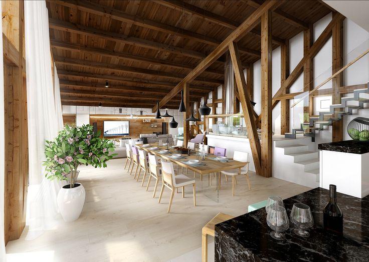 Vizualizace prostoru využitého pro jídelnu, obývací pokoj a kuchyň