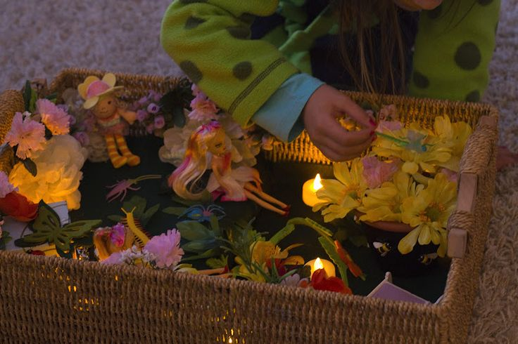Fairy Box Play with battery operated tea lights.