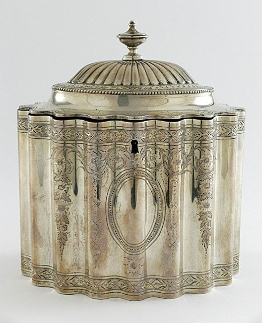 1788 silver tea caddy, by the great Hester Bateman. Love it.