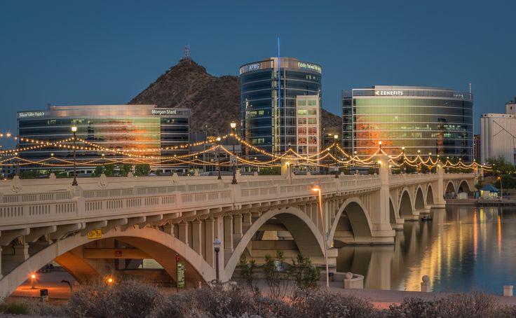 Tempe Town Lake Bridge Arizona. Mill Ave skyline sunset ...