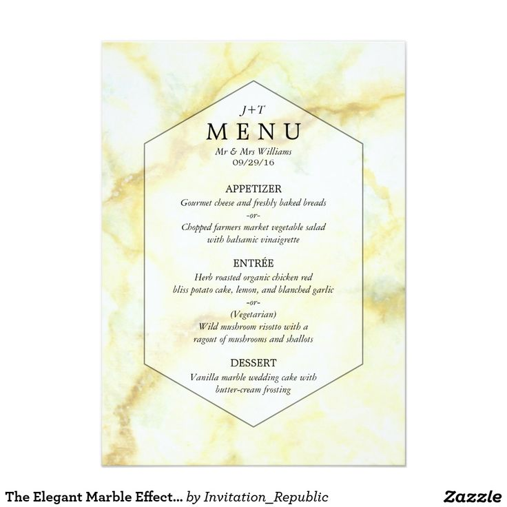 The Elegant Marble Effect Wedding Collection Menu Card