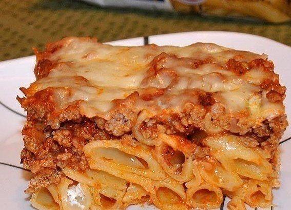 Фото к рецепту: Макароны, запеченные с мясом и сыром
