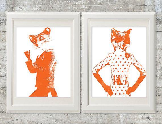Fantastic Mr. and Mrs. Fox 11x14 Watercolor Stencil Style Nursery or  Playroom Printable Art