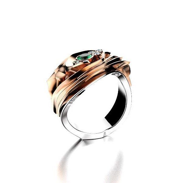 Olli Johan Lindroos sormus. 18k white and rose gold, colourless and green diamonds. ojl.fi/