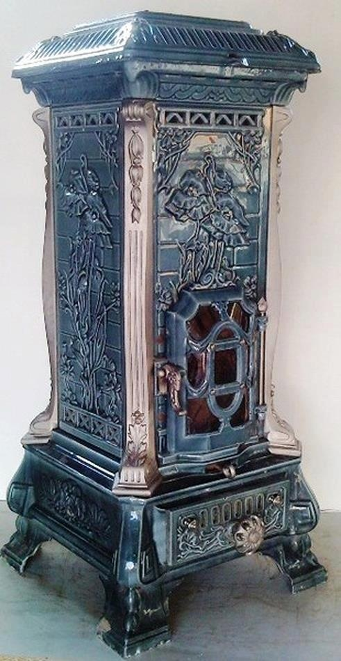 Art Nouveau multi-fuel stove Monopole 15 by Deville ca.1900