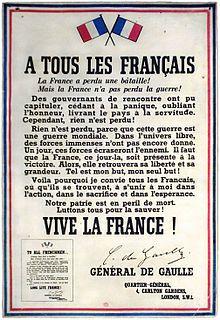 18 juin 1940 - Allemands et français mènent une guerre qui n'est pas encore mondiale. Charles de Gaulle, arrivé la veille en Angleterre, lance, sur la BBC, son appel dans lequel il invite les français à ne pas cesser le combat contre l'Allemagne nazie et dans lequel il prédit la mondialisation de la guerre.  Cet appel est considéré comme le texte fondateur de la Résistance française, dont il demeure le symbole. (Source: Wikinews - Wikipedia)
