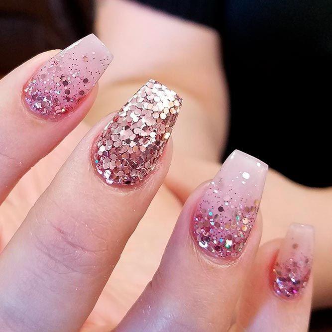 Best 25+ Rose gold glitter nails ideas on Pinterest