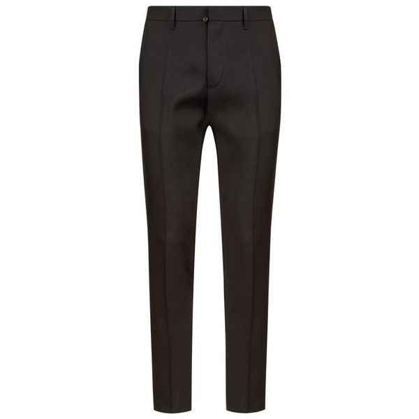 DSquared2 Tokyo Silk Blend Tuxedo Trousers (37.765 RUB) ❤ liked on Polyvore featuring men's fashion, men's clothing, men's pants, men's dress pants, mens formal pants, mens tuxedo pants and mens holiday pants