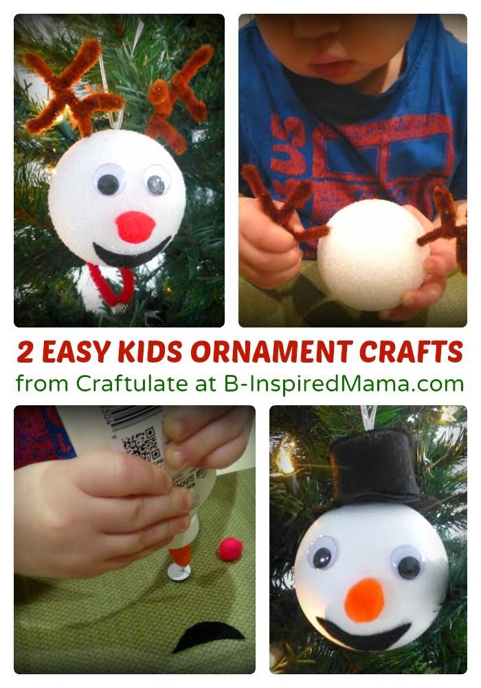 Reindeer and Snowman Christmas Ornaments for Kids to Make - Craftulate at B-Inspired Mama