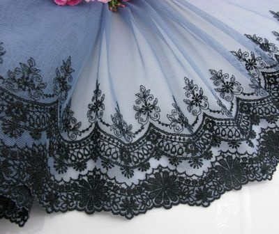 Delicate Embroidered Flower Tulle Lace Trim