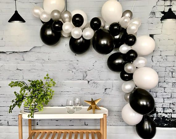 black Silver and black latex balloons set Set of 15 Silver Gold balloon. and gold latex balloons Gray latex balloons grey
