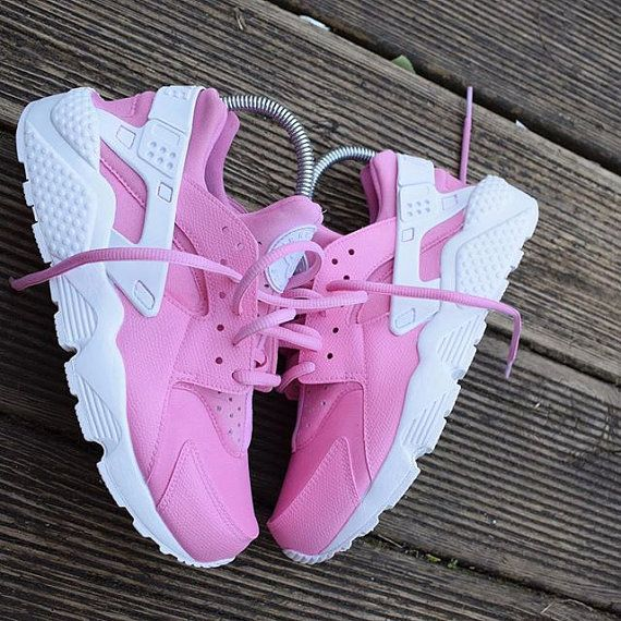 7bb2c4e704f0 Soft Pink Nike Huarache Run Triple White Custom by NYCustoms