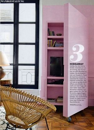 Peak a boo shelving for hiding the TV, as designed by Double G, and as featured in Where I'd Stay's St Sulpice flat, as featured in Germany's Schøner Wohnen Magazine (October 2015)