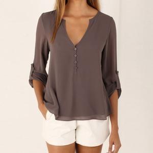 Preself Blouse Chiffon Shirt Tops Women V Neck Long Sleeved Shirt                      – Dolphin Buy Now