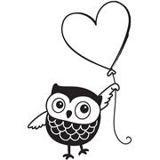 "Kelly Panacci Mounted Rubber Stamp 2.5"" x 2.5"", Owl and Heart Balloon"
