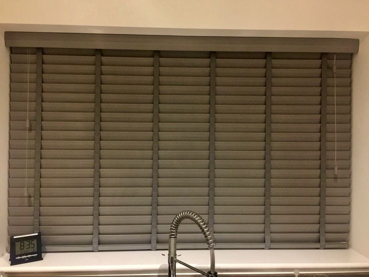 PVC Venetian blind, 50mm with grey tapes. Think Blinds