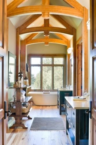 Love this vaulted bathroom!
