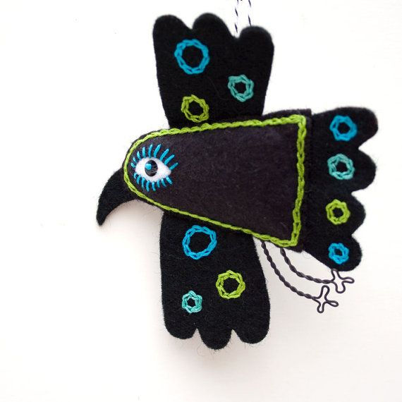 Mexican Folk Art Felt Raven ornament handstiched by RawBoneStudio