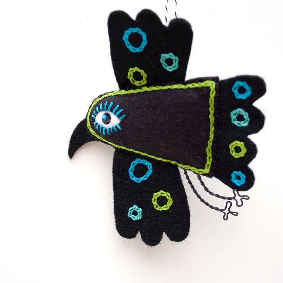 Мексиканское Народное искусство войлока Ворон орнамент handstiched по RawBoneStudio