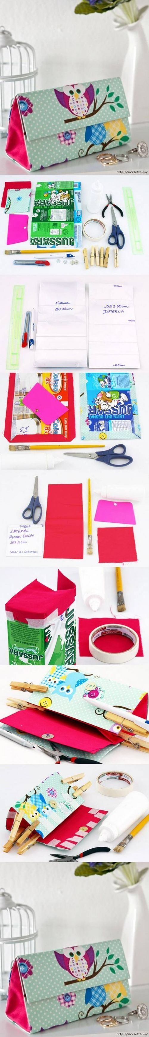 How to make Milk Boxes designer Clutch Handbags DIY tutorial instructions / How To Instructions