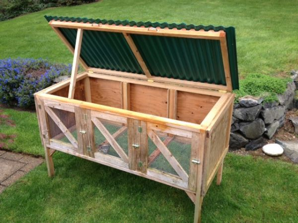 Rabbit Hutch. Could you make something like this from an unwanted cedar chest or similar furniture item?!