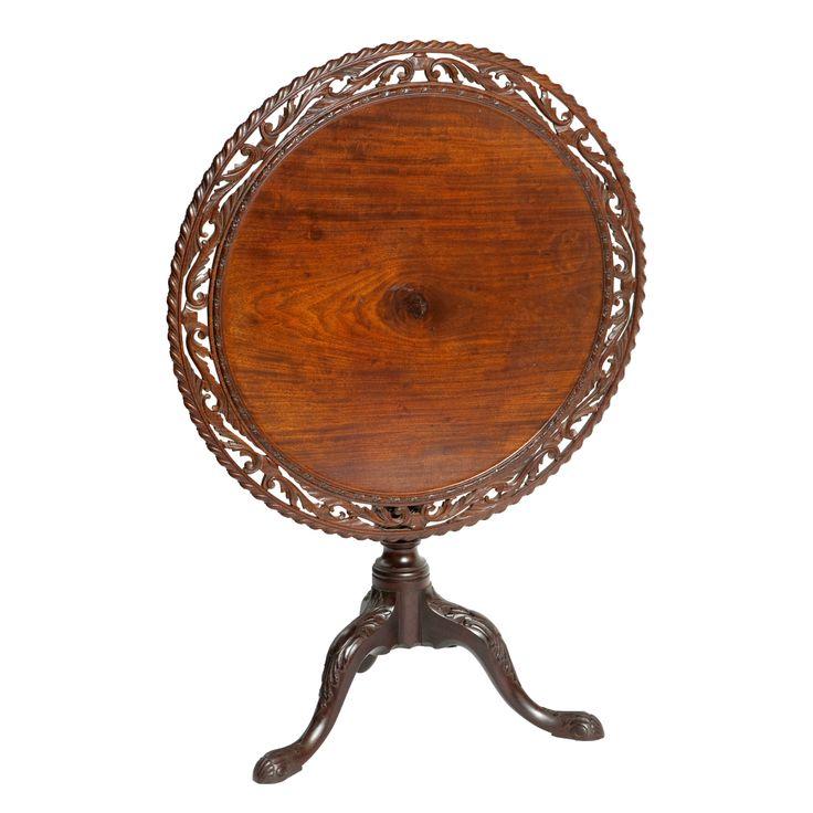 18th Century Irish Carved Mahogany Tilt Top Table