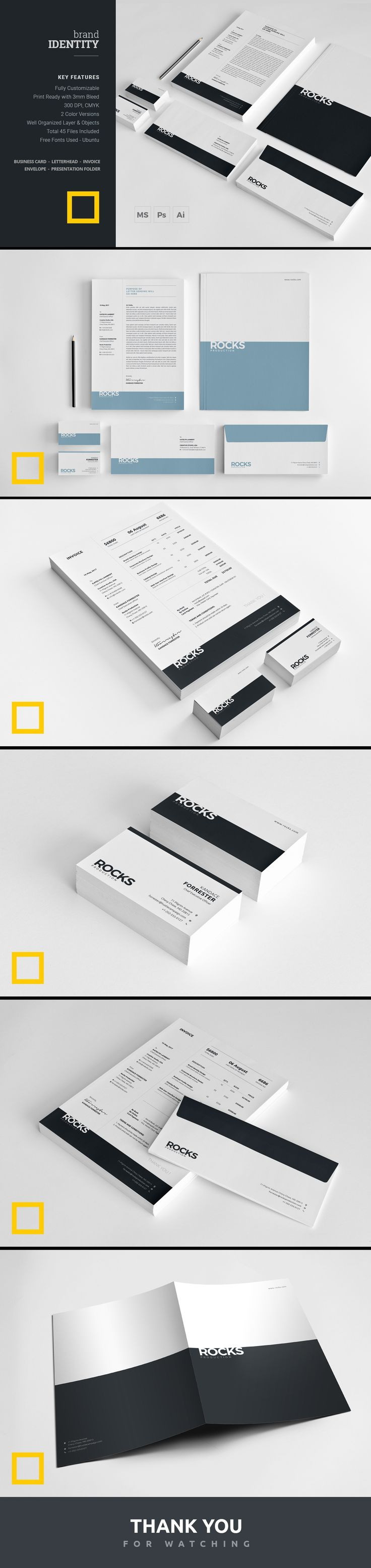 Identity Pack with minimal and clean look will create a fresh impression of your business which is essential for your corporate branding.  brand | branding | corporate stationary  | brand stationery | brand identity | corporate identity | business card | letterhead | invoice | modern identity | minimal identity | word | print ready  | identity pack | professional | office stationery