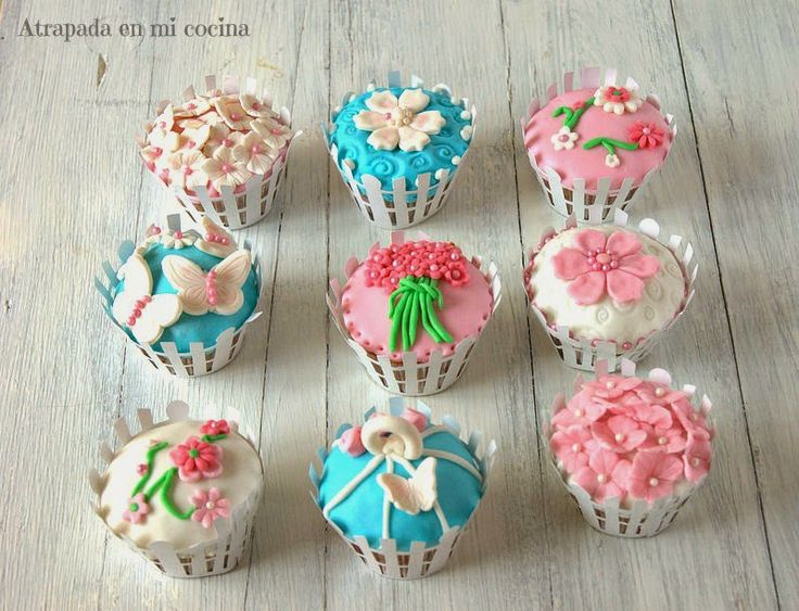 Cupcakes flores vintage