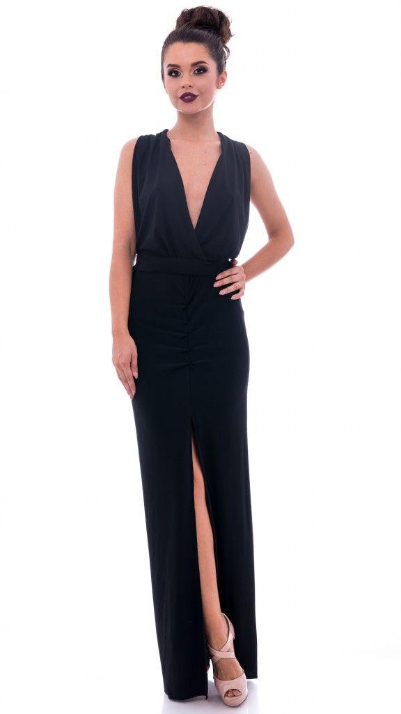 Rochie lungă neagră cu crăpătură față