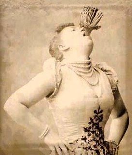 1800's female sword swallower, vintage sideshow performer.