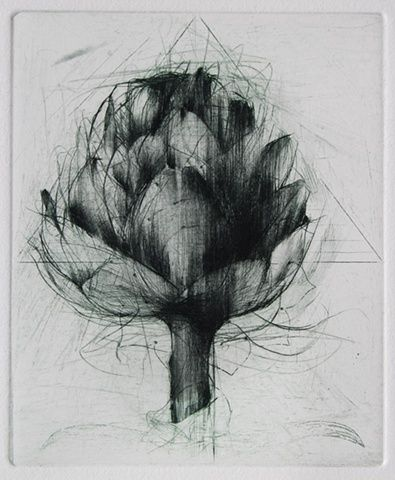 Artichoke Etching and drypoint Jake Muirhead