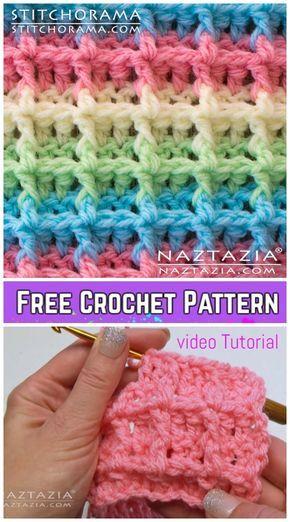 Crochet Waffle Stitch Blanket Padrões De Crochê Livre - Vídeo tutorial