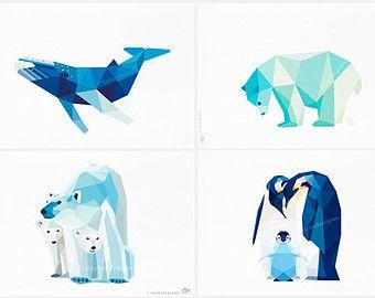 Baby room art set, Arctic friends, Whale, penguin, polar bear, Geometric print, Original illustration, Nursery wall art, tinykiwi