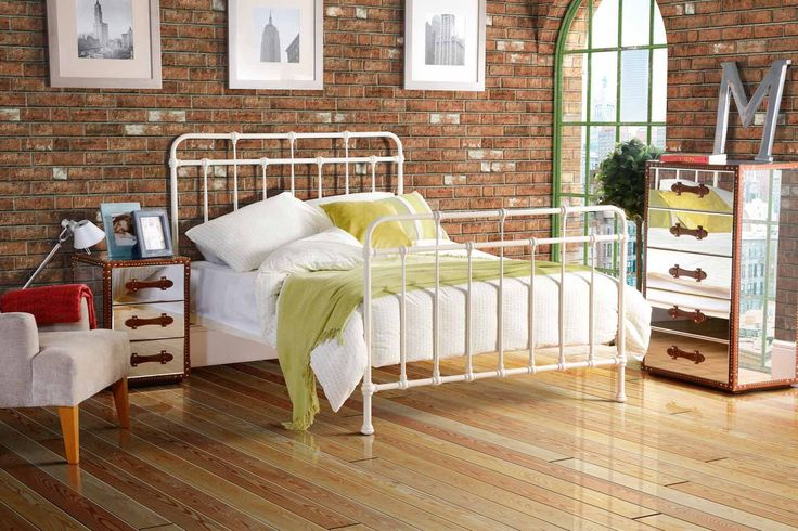 ISOBEL 5ft King size Dormitory style Vintage Iron Metal Hospital bed - IVORY